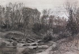 Forest stream. Evening - Ivan Shishkin