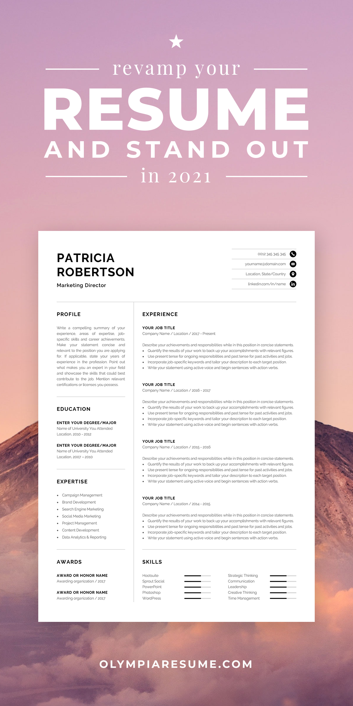 Professional 1 Page Resume Template Modern One Page Cv Etsy In 2021 Resume Template Modern Resume Template Resume Examples