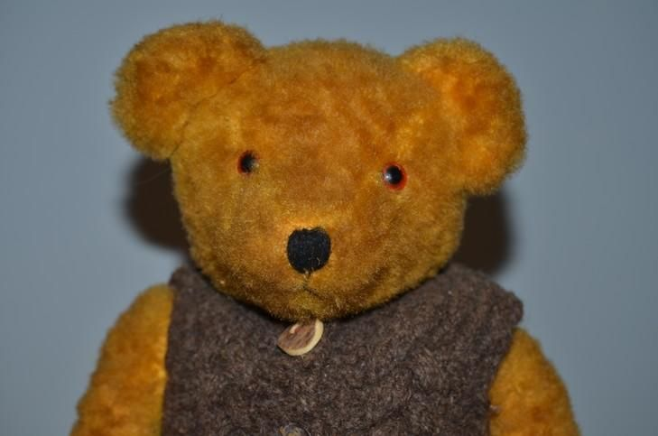 Old Teddy Bear Jointed Golden Brown Teddy Bear Doll Friend