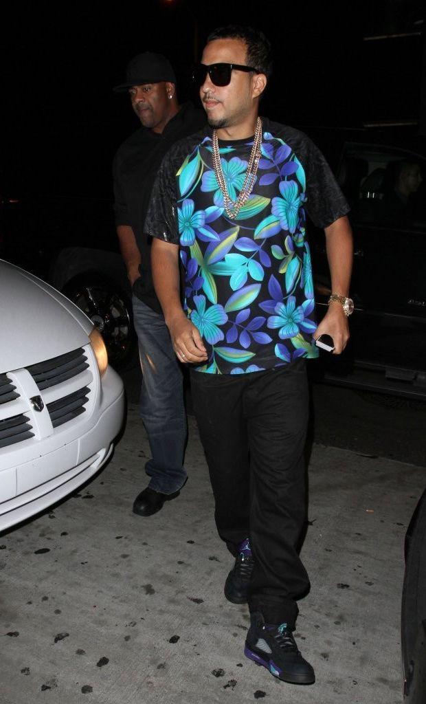 9f5f31195ea French Montana wearing Jordan V- Black Grape | Celebrity Sneakers ...