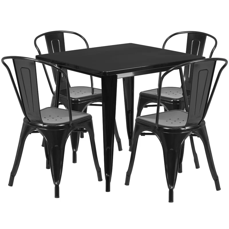 Betsey 5 Piece Dining Set Outdoor Table Settings Metal Dining Table Flash Furniture