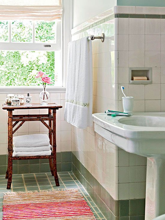 Add an extra working surface and storage to you small bathroom with an end table