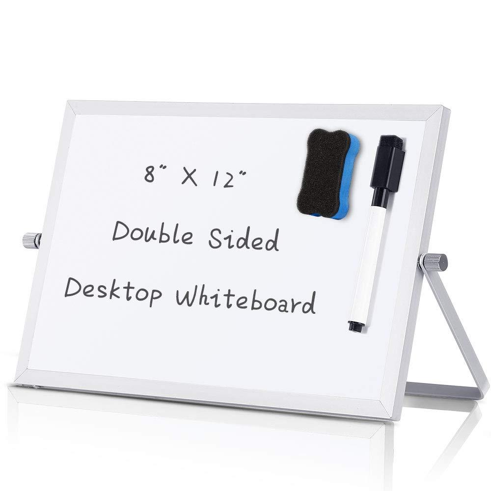 Amazon Com Small Dry Erase White Board Desktop Portable Mini Whiteboard Easel 8 X 12 360 Degree Reversible T Whiteboard Easel Whiteboard Eraser Dry Erase