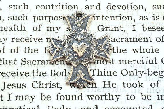 Sacred Heart Cross  7/8  Sterling Silver  by CaritasDeiSupplies