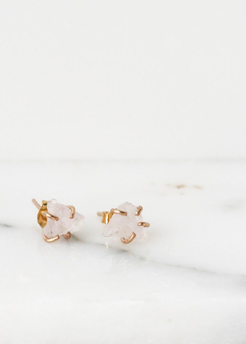 Etsy Rose Quartz Stud Earrings