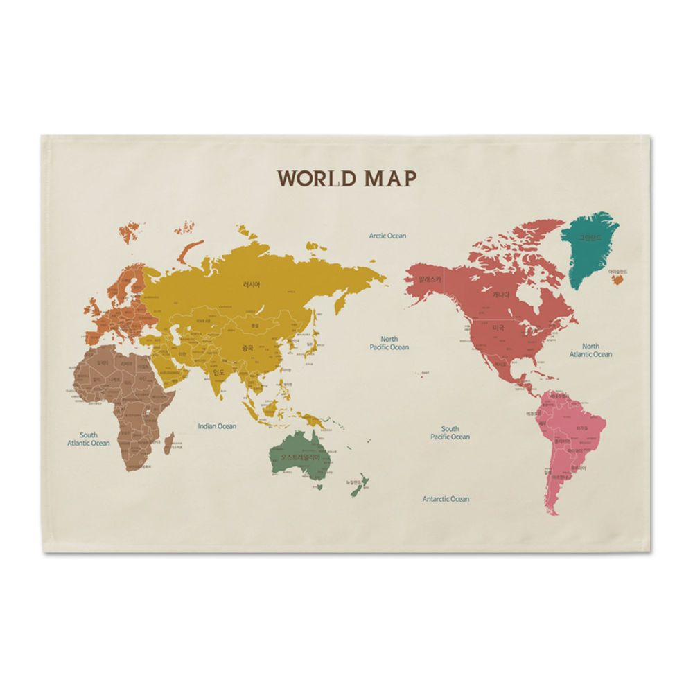 World Map Cloth Cotton Fabric Poster Flag Tapestry Wall ...