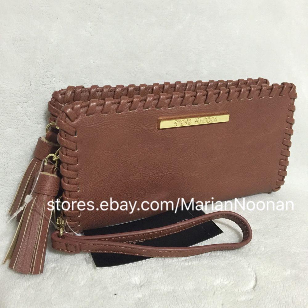 4a7a7841ae0 NEW Steve Madden Cognac Double Zip Around Whipstitch Wallet Wristlet Tassel  Zippers #SteveMadden #Clutch