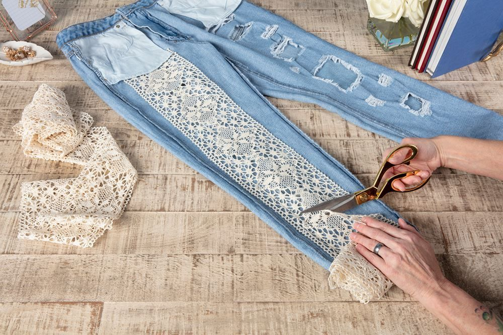 Aleene S Lace Jeans Diy Trim Lace Jeans Diy Lace Jeans Diy Clothes Refashion