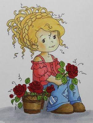 Wee Stamps image called Wee Florist.  Copics:  trouser/Hose: B21, B23 (B24)  blouse/Bluse: (R20) R22  roses/Rosen: (R24) R27, R29  leaves/Blätter: (YG11) YG13, YG17  shadows/Schatten: (C0) C1, C3