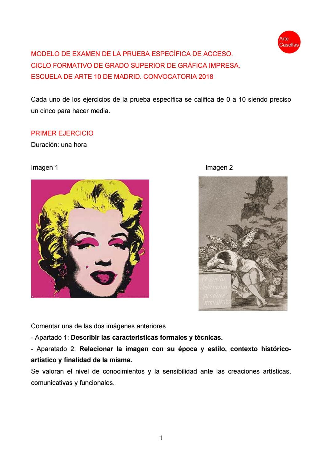 Modelo Examen Prueba Específica Artediez Gráfica Impresa 2018 Modelo De Examen Examen Imprimir Sobres