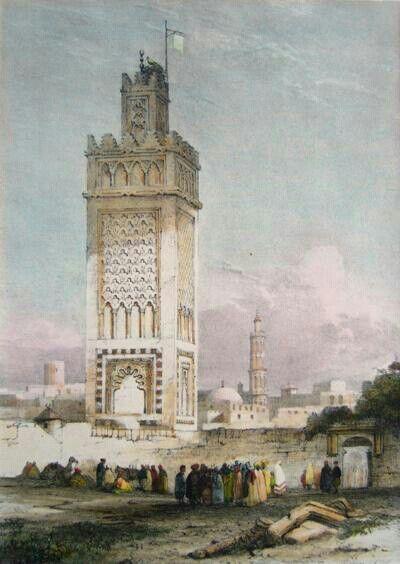 Algérie - Peintre Britannique WYLD William (1806-1889) et Peintre Français LESSORE Emile (1805-1876), Aquarelle 1835, Titre : Porte d'Oran