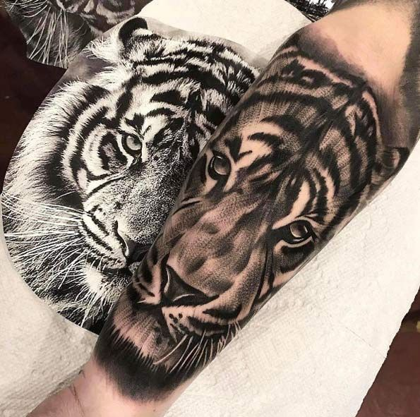 Cooltop Animal Tattoo Designs Black And Grey Ink Tiger Tattoo By Ethan Gozum Shoulder Tattoos For Women Small Shoulder Tattoos Tiger Tattoo