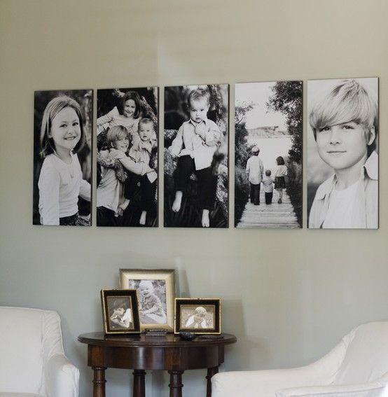 forma muy interesante para cubrir una gran pared decoracion cuadros fotos paredes pinterest