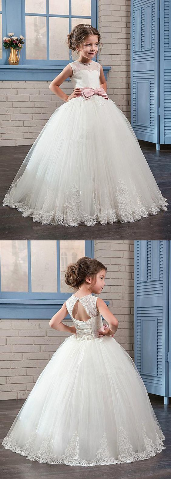Amazing tulle u lace jewel neckline ball gown flower girl dresses