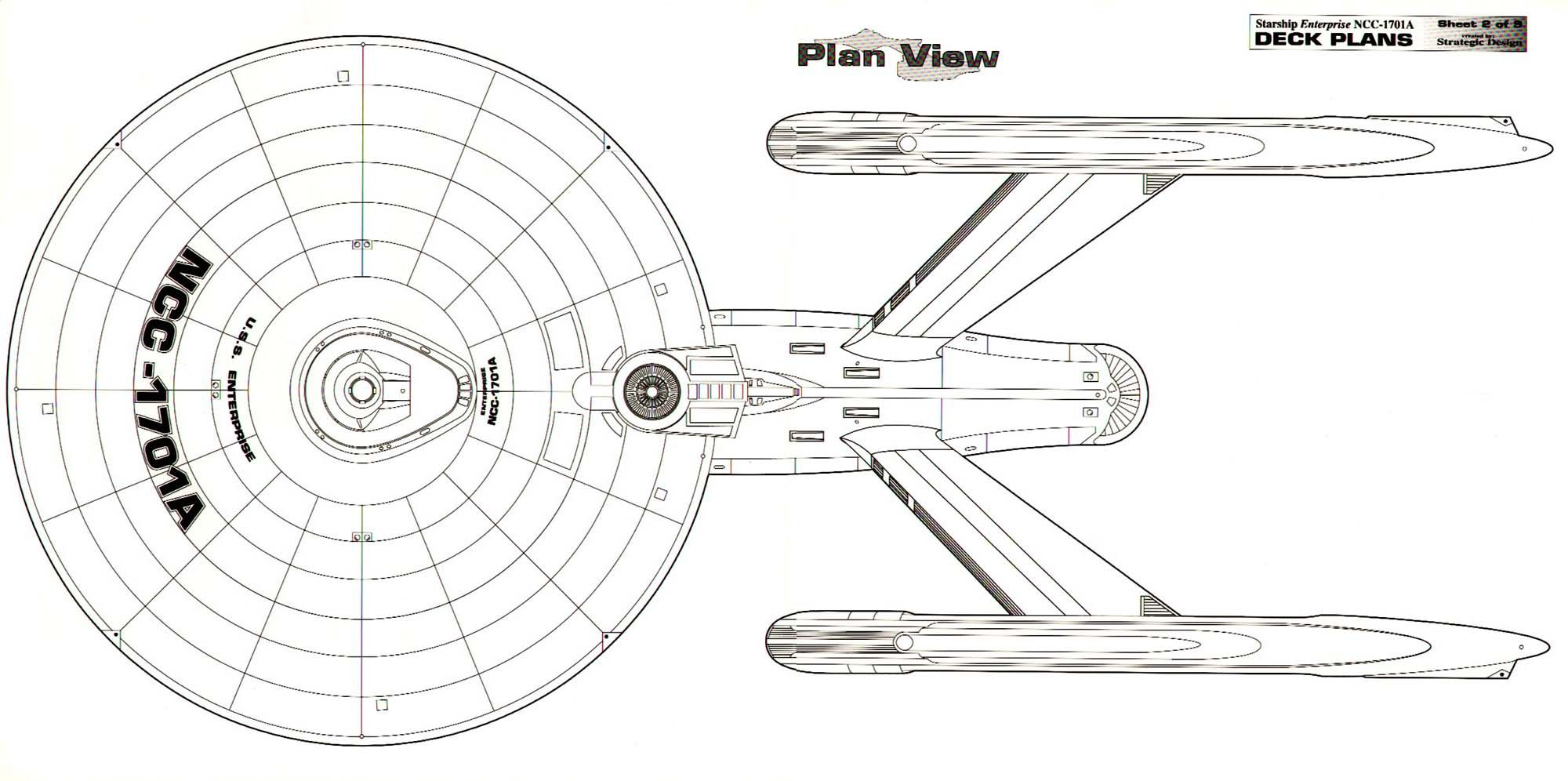 dorsal schematic of u s s  enterprise ncc