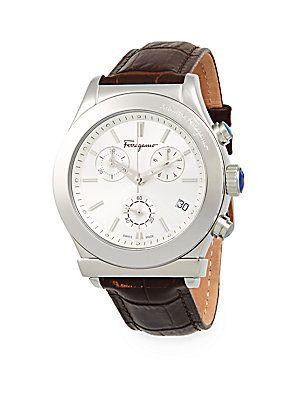 Salvatore Ferragamo Stainless Steel Leather Strap Watch - Silver - Siz