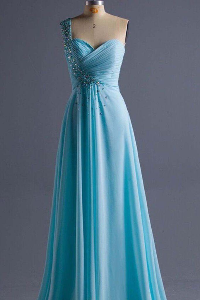 Light blue chiffon one shoulder sequins long dresses, prom dress ...