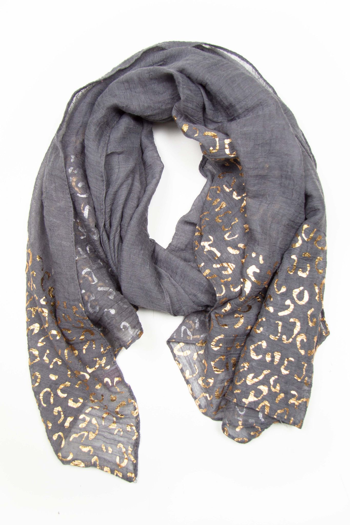 Grey with Gold Print Scarf | Necklush. | Signature Style ...
