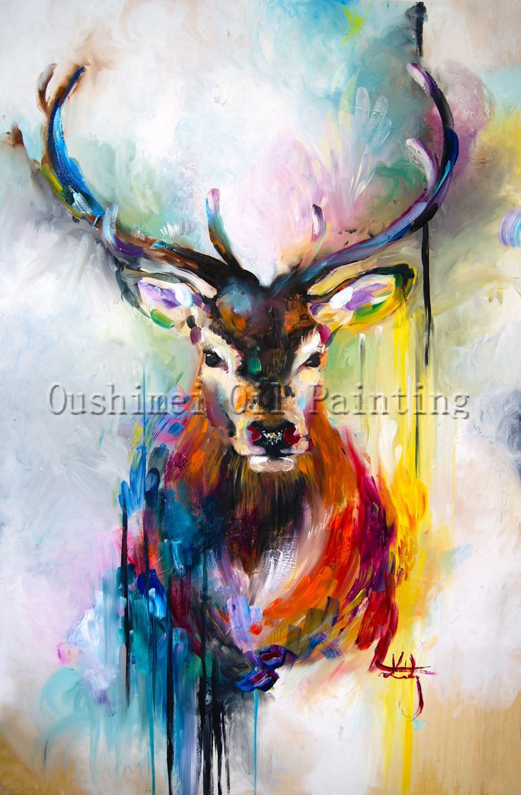 X Series 100Handmade Colorful Animal Deer Portrait Oil Painting