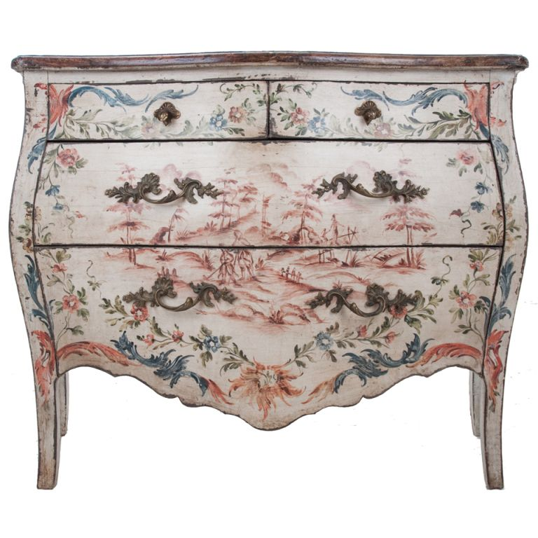 Antique Furniture · Italian 19th Century Painted Bombe Chest ...