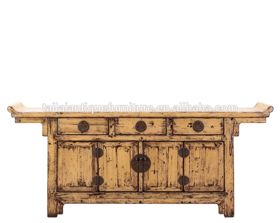 White Wood Chinese Antique Wooden Beijing Cabinet 100 Solid Reproduction Furniture