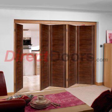 Nuvu Alcaraz Walnut Veneered Flush Folding 5 Door Set, 2078mm high and 3122mm or 3502mm wide