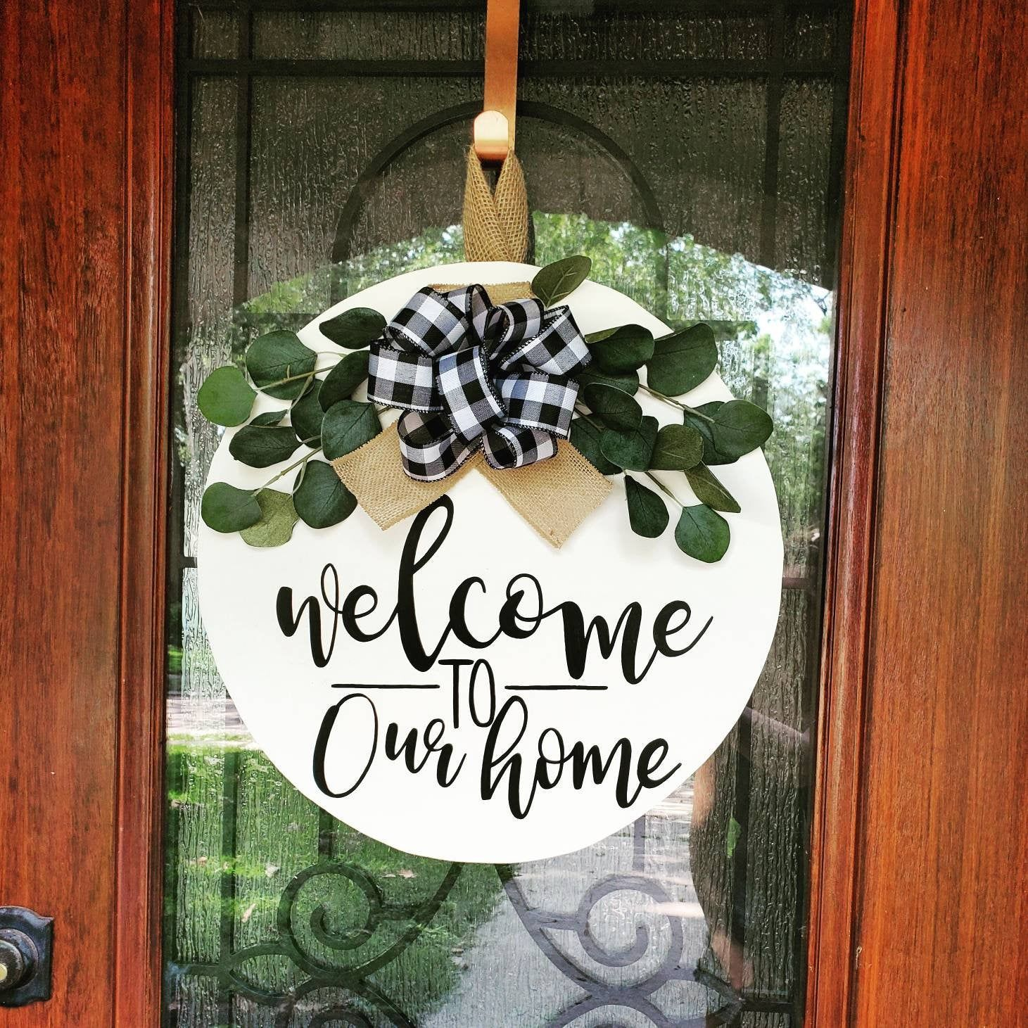 Front Door Decoration Front Door Wreath Circle Door Decor Circle Wood Wreath Hello Door Welcome Sign Welcome Door Hanger Doorhanger