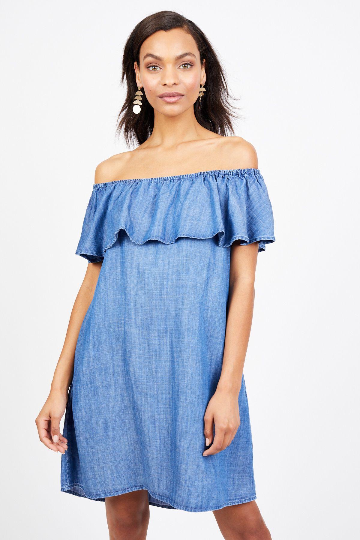 Off Shoulder Denim Dress Fashion, Latest fashion for