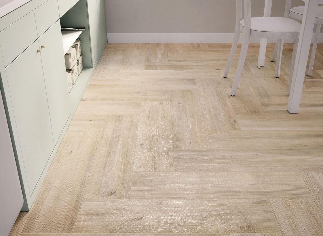 Light Wooden Tiled Kitchen Floor White