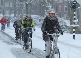 fietsen in de winter.