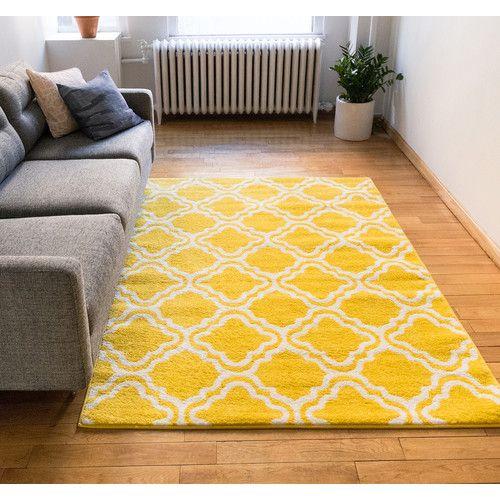 Arbaaz Star Bright Yellow White Rug Yellow Rug Rugs In Living Room White Rug