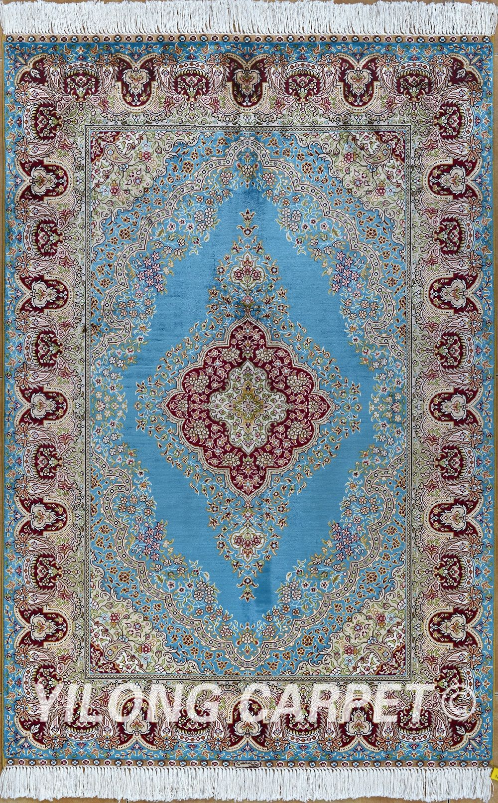 Blue Persian Rug Oriental Turkish Carpet Silk Tabriz