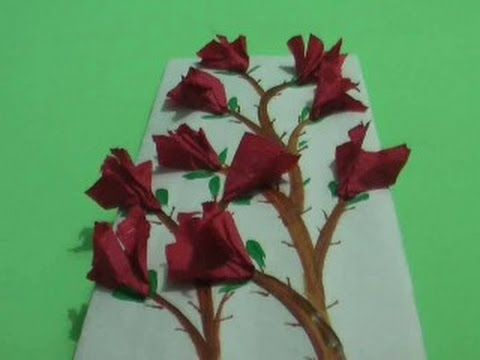 Paper Flowers on Card Board - Wall Hanging for Decoration