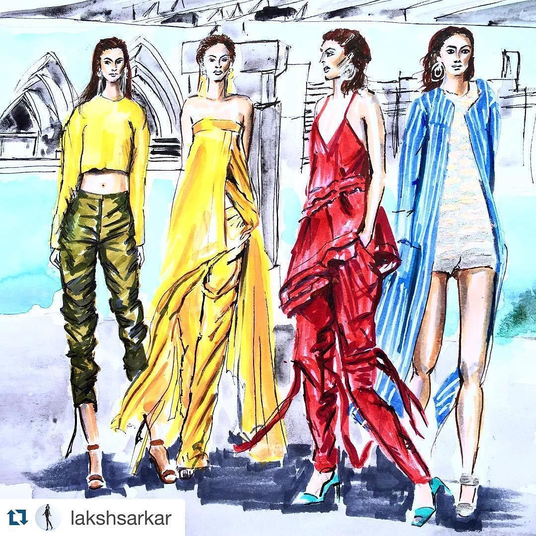 #Repost @lakshsarkar with @repostapp. When the iconic setting in Sydney is your backdrop for a runway show ! @manningcartell at @fashionweekaus at Bradley Park .. simply amazing  These used to be my old stomping grounds when Sydney was my home not too long ago . So thrilled to be illustrating it and yes I miss Sydney . @jadeeburton  #manningcartell #mbfw #mbfwa #mbfwa2016 #mbfwastyle #australia #sydney #sydneyharbour #sydneyharbourbridge #fashionshow #runway #resortwear #aussiestyle…