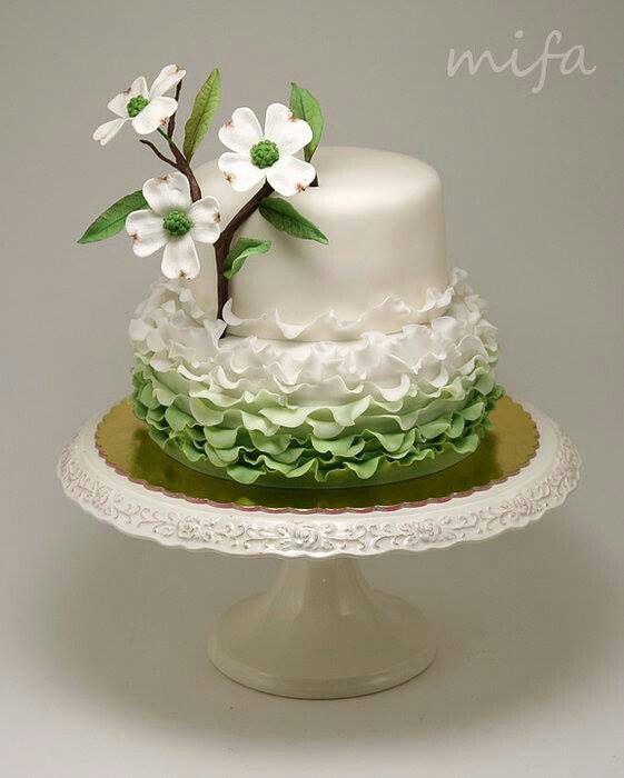 Pin By Marzenka On Flores Petal Cake Ruffle Cake Green Wedding Cake
