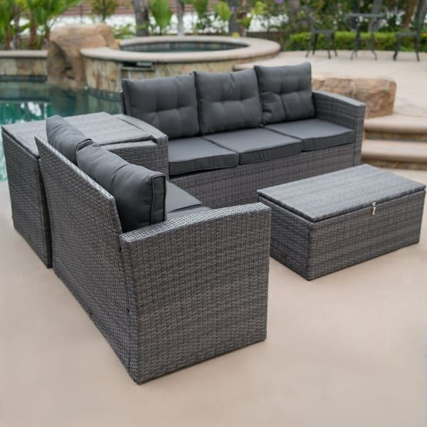 Wondrous Belleze 4 Piece Wicker Outdoor Sofa Set All Weather Dual Pdpeps Interior Chair Design Pdpepsorg