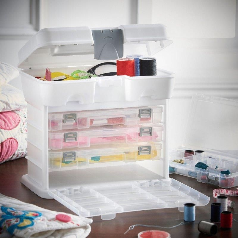 Storage Organiser Carry Case Box Handle Boxes Craft Sewing Fishing Hobby White Unbranded Craft Storage Hobby Storage Craft Tool Storage