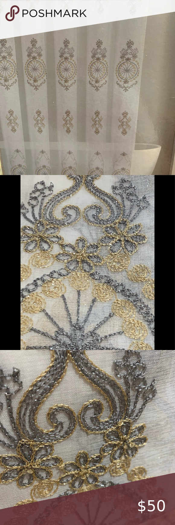 Gold and silver embroidered shower curtain new in 2020 ...