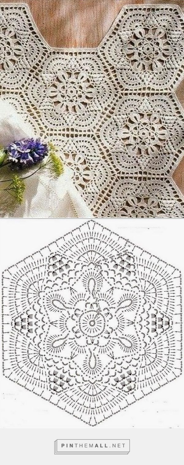 Hexágono Lindo De Crochê | Sewing | Pinterest | Crochet diagram ...