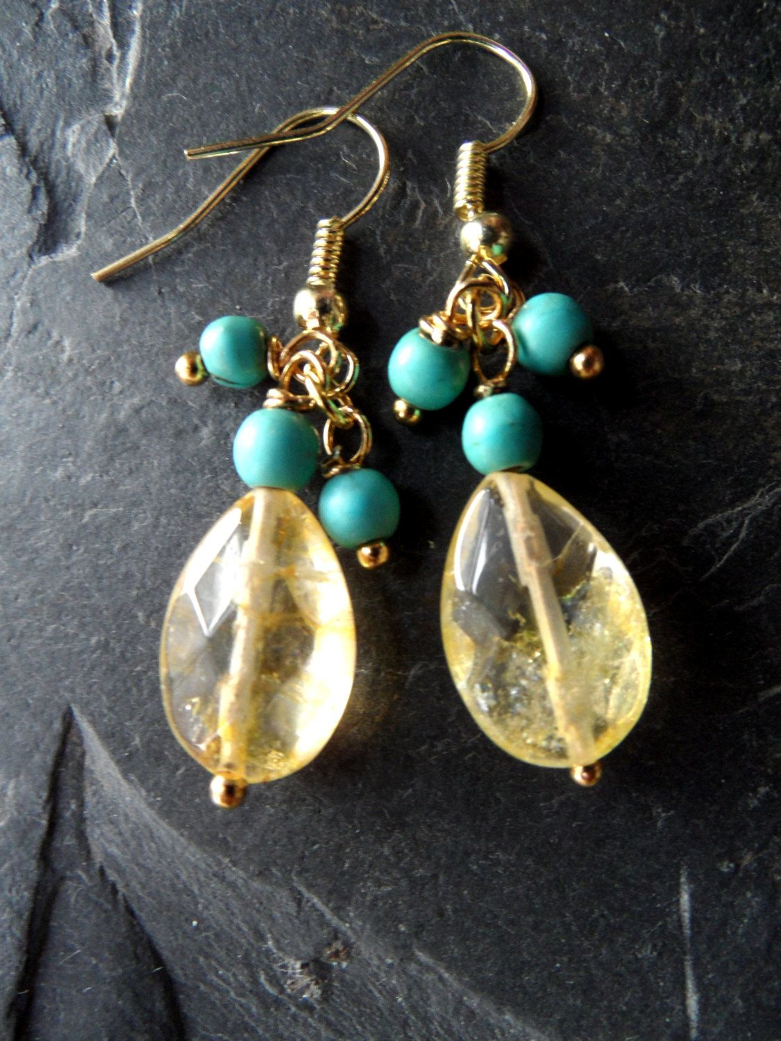 Turquoise Citrine Earrings Ember Bithstone Jewelry Yellow Golden Wire