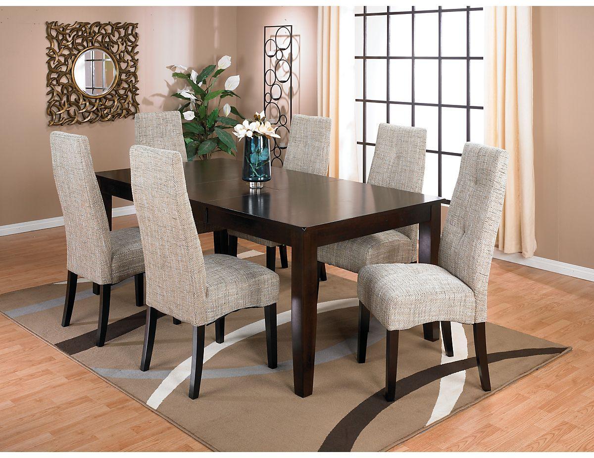 Dakota 7 Piece Dining Package W Linen Chairs Dkotalpk7 The
