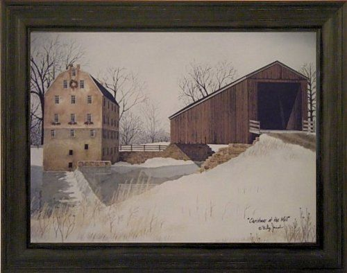 Christmas At The Mill by Billy Jacobs 15x19 Covered Bridge River Snow Winter…