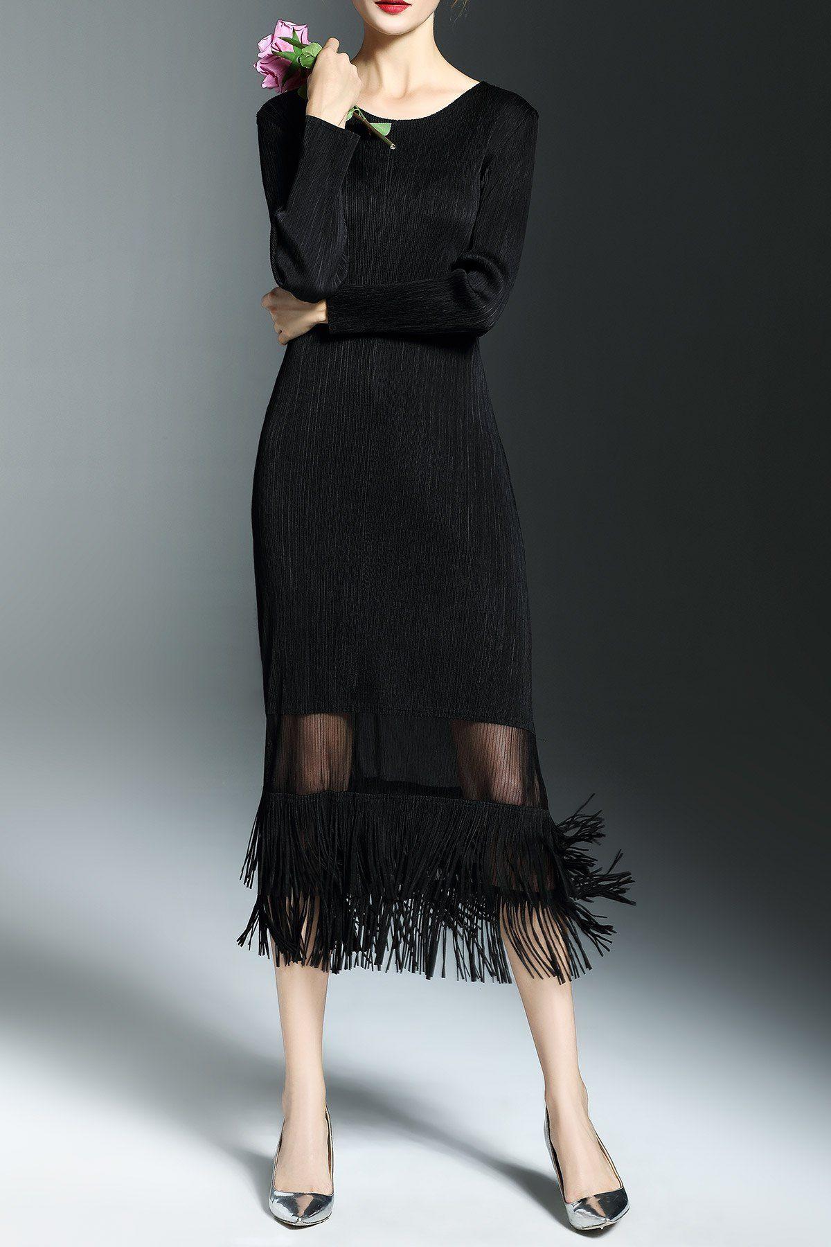 Shyslily Long Sleeve Maxi Fringe Dress Barhatnye Platya Platya [ 1800 x 1200 Pixel ]