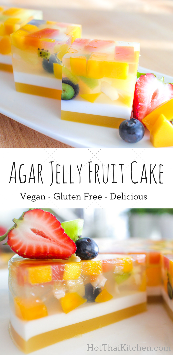 Agar Jelly Fruit Cake Recipe เค้กวุ้นผลไม้ - Hot Thai Kitchen ...