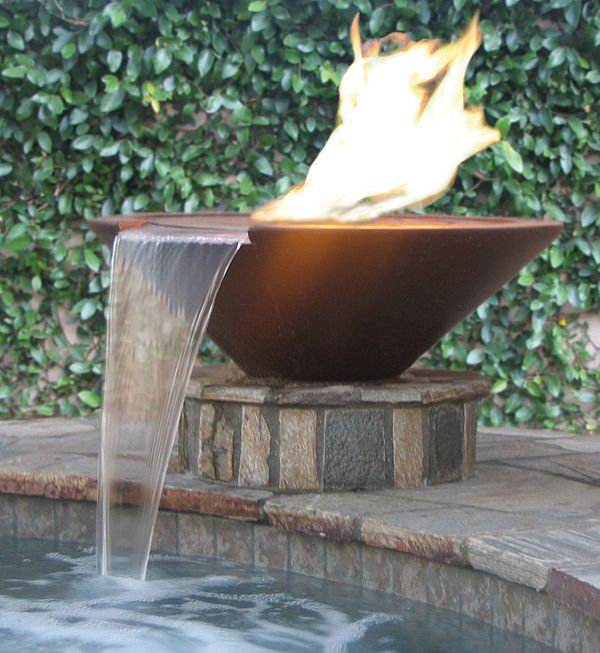 Fire Water Bowl Pool Water Features Pool Fountain Outdoor Fire Pit