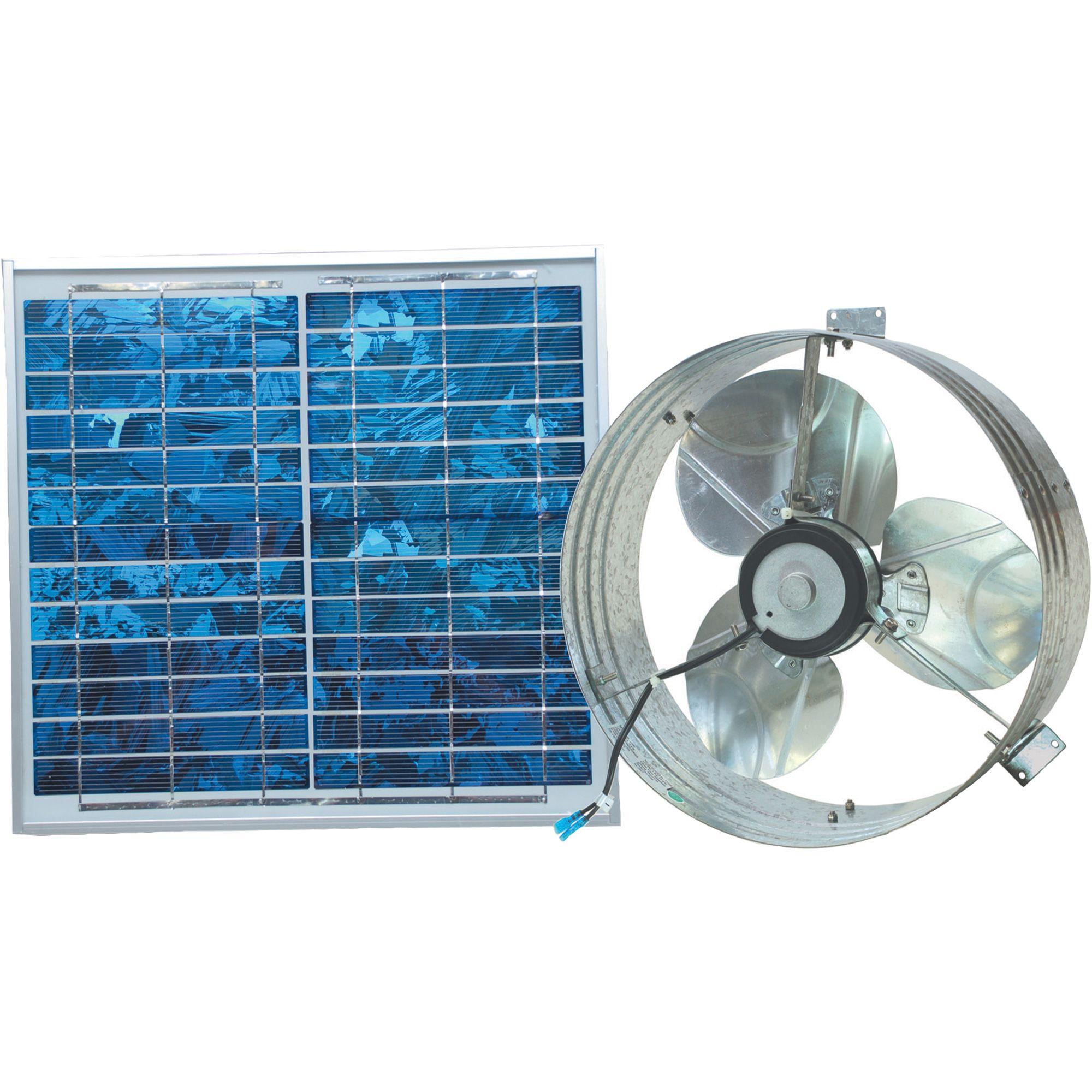 Ventamatic Solar Powered Ventilating Fan With Panel Gable Mounted Ventilator 1 000 Cfm Model Vx2515solargabl Solar Fan Solar Attic Fan Solar Power