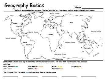 Continents And Oceans Geography Basics Geography Social - World map continents and oceans black and white