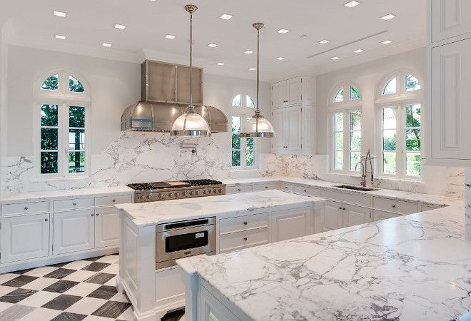 White Kitchen With Marble Checkered Floor Tiles Marble Countertop And Marble Slab Backsplash S Marble Floor