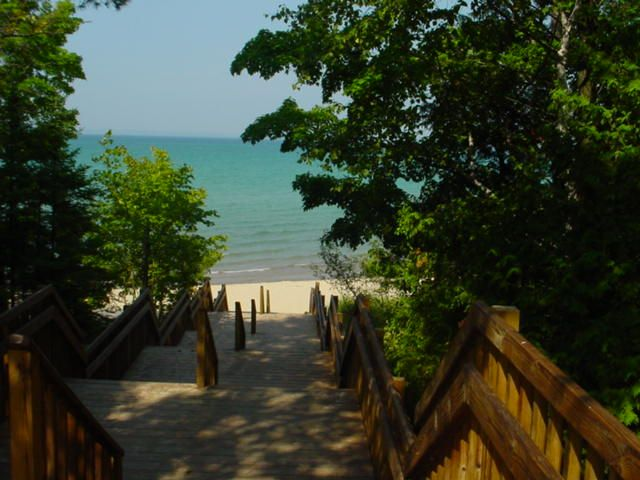 Stairs to the beach Barnes Park on Lake Michigan Eastport ...