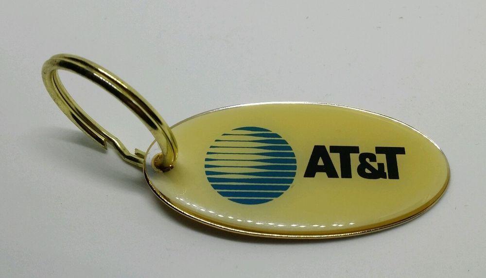 VINTAGE OVAL ATT AT&T LOGO PROMO KEYCHAIN KEY RING FOB ADVERTISING USA #ATT